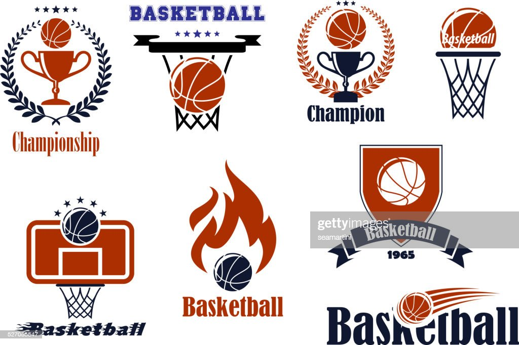 Basketball  game emblems and banners