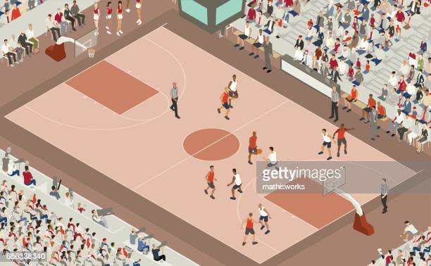 basketball game illustration - match sport stock illustrations, clip art, cartoons, & icons