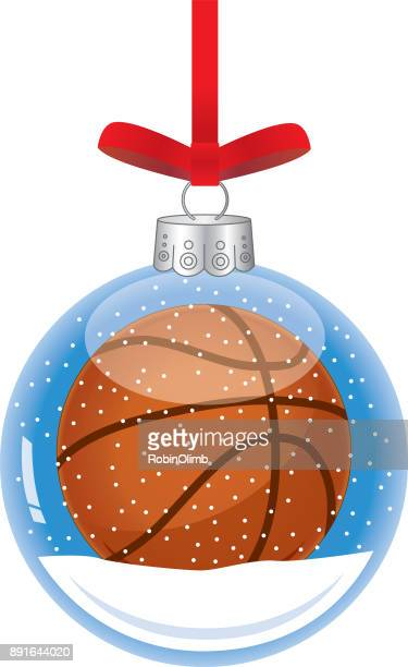 Basketball Glass Christmas Ornament