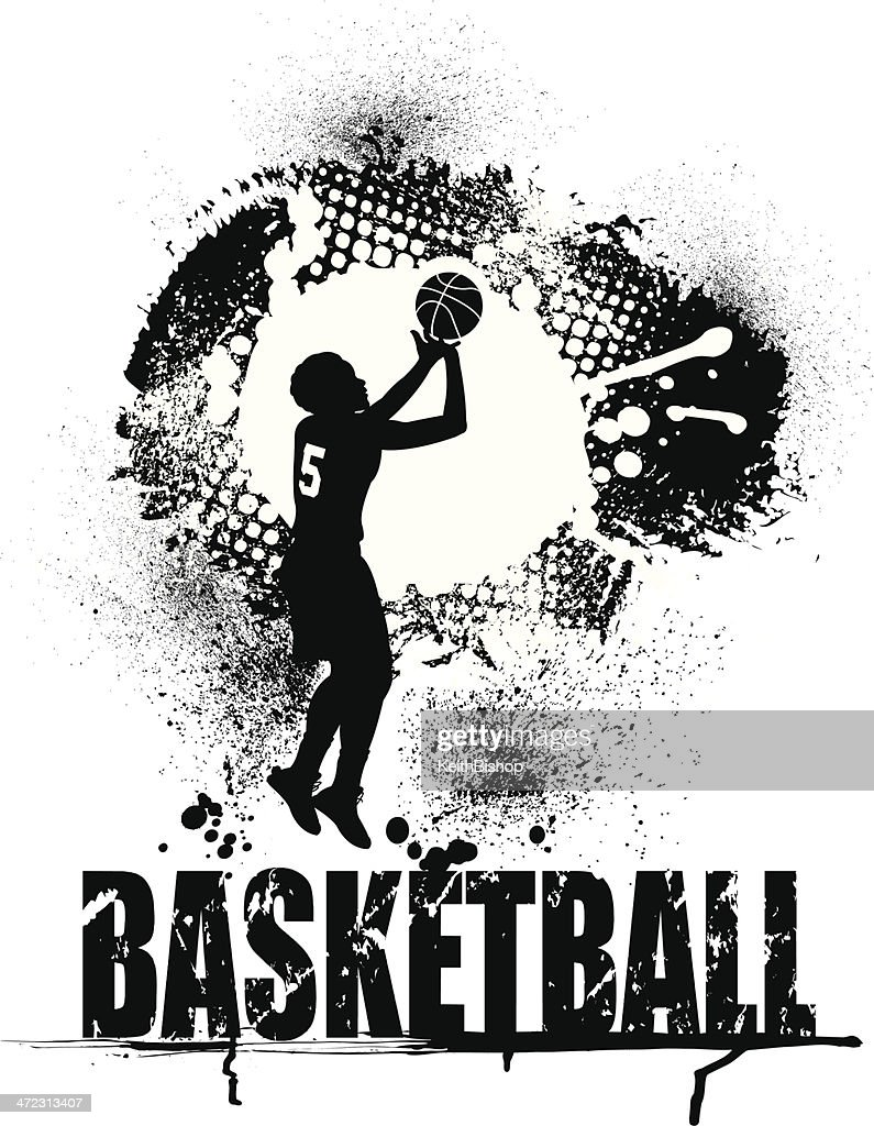 Basketball Grunge Graphic with Type - Girls Background