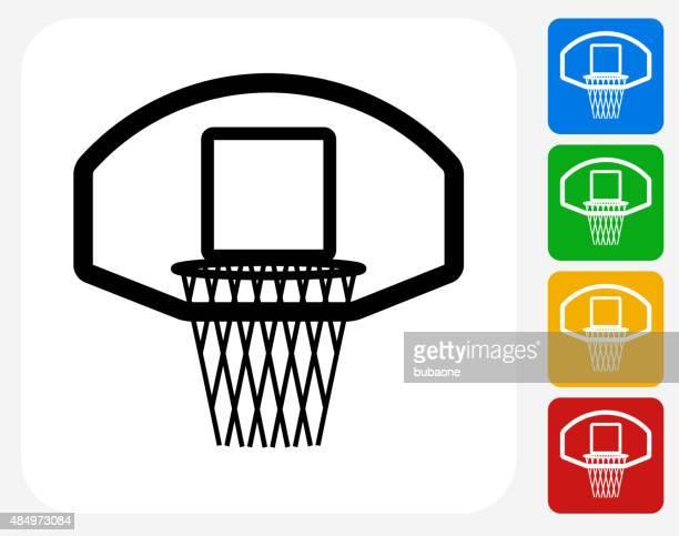 ilustraciones, imágenes clip art, dibujos animados e iconos de stock de canasta de baloncesto de iconos planos de diseño gráfico - canasta de baloncesto