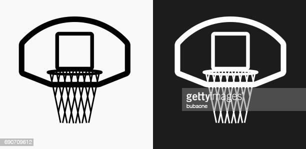 Icono de aro de baloncesto en blanco y negro Vector fondos