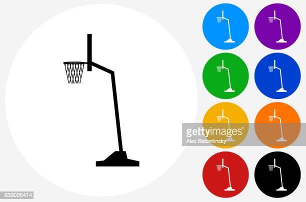 ilustraciones, imágenes clip art, dibujos animados e iconos de stock de basketball hoop icon on flat color circle buttons - canasta de baloncesto