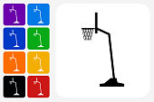 Basketball Hoop Icon Square Button Set