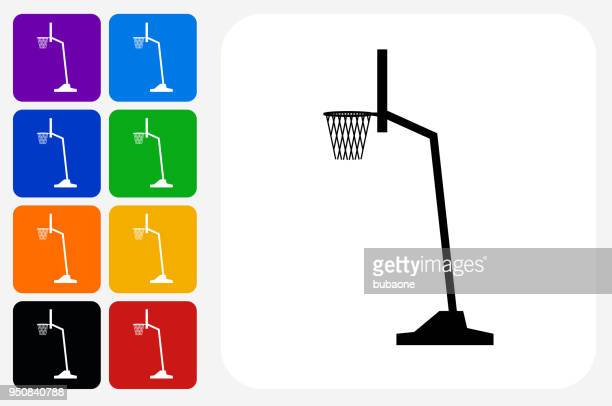 basketball hoop icon square button set - basket stock illustrations, clip art, cartoons, & icons