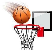 Basketball hoop illustration on white
