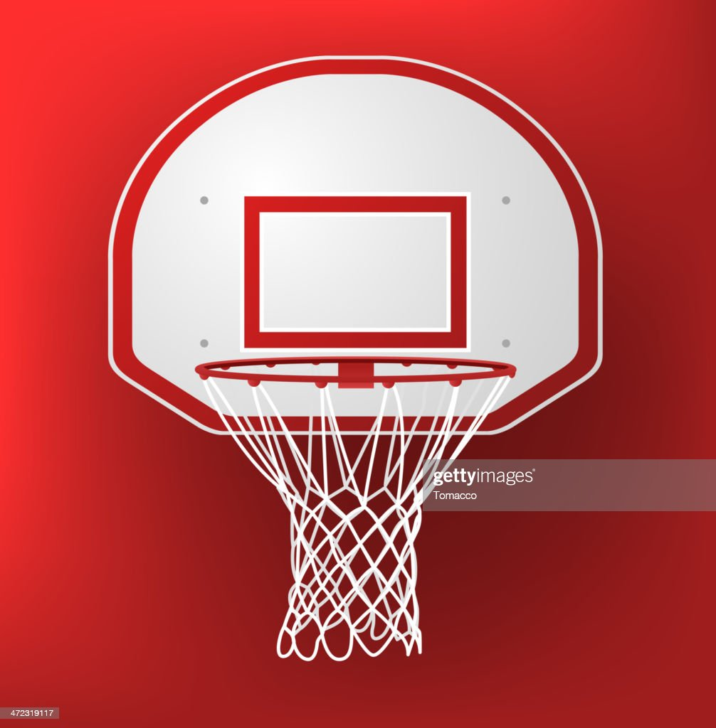 Basketball hoop on a red background