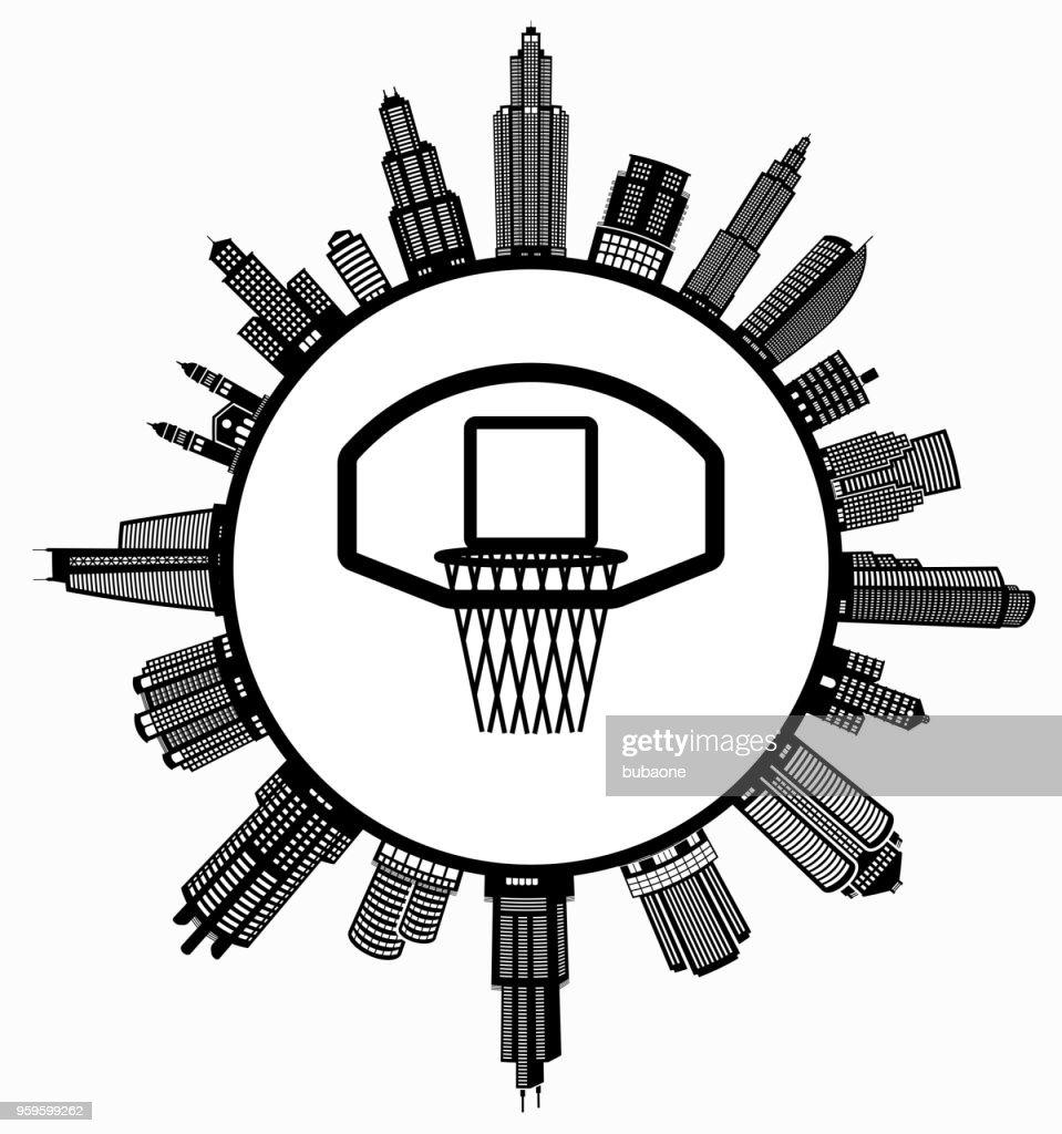 Basketballkorb auf modernen Stadtbild Skyline Hintergrund : Stock-Illustration