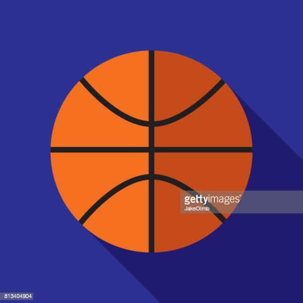 basketball icon flat - basketball ball stock illustrations, clip art, cartoons, & icons