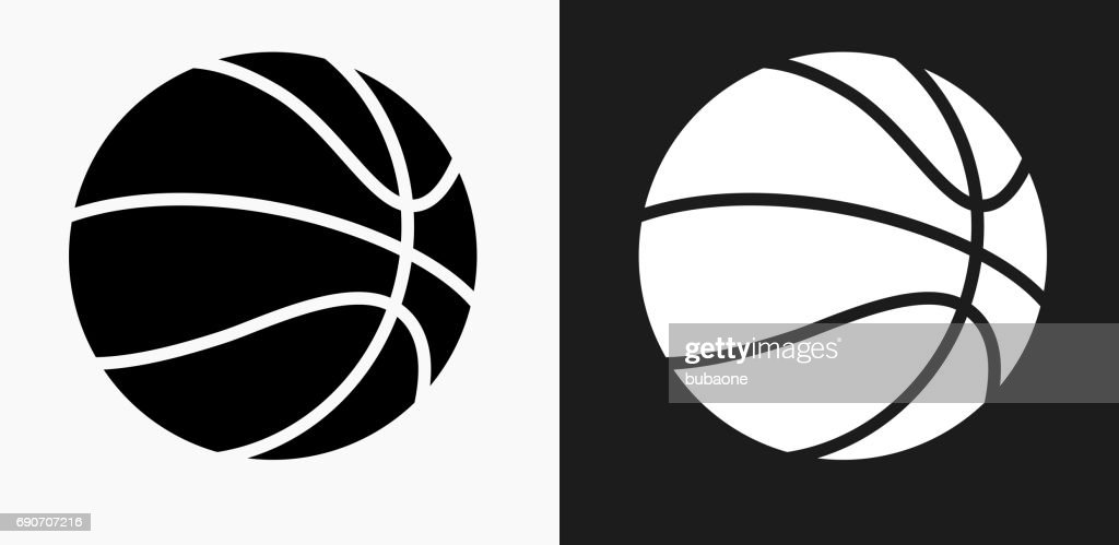 Basketball Icon on Black and White Vector Backgrounds