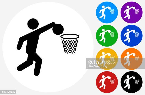 Basketball Icon on Flat Color Circle Buttons