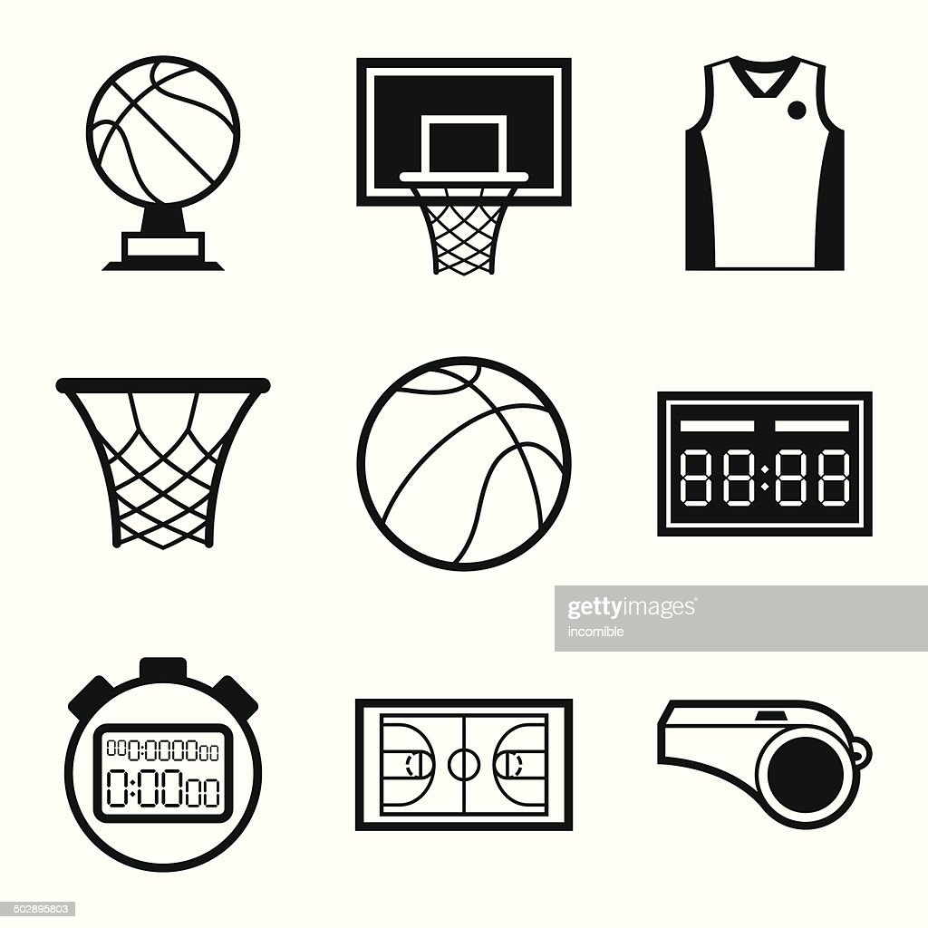 Basketball icon set in flat design style.