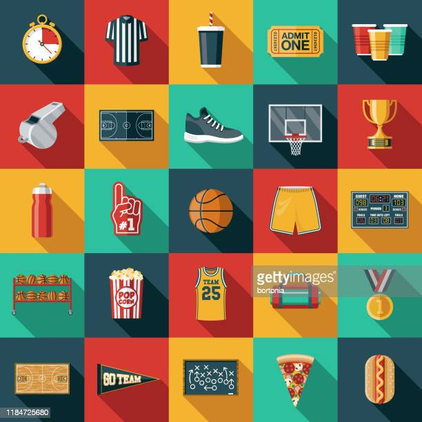 basketball icon set - basketball sport stock illustrations