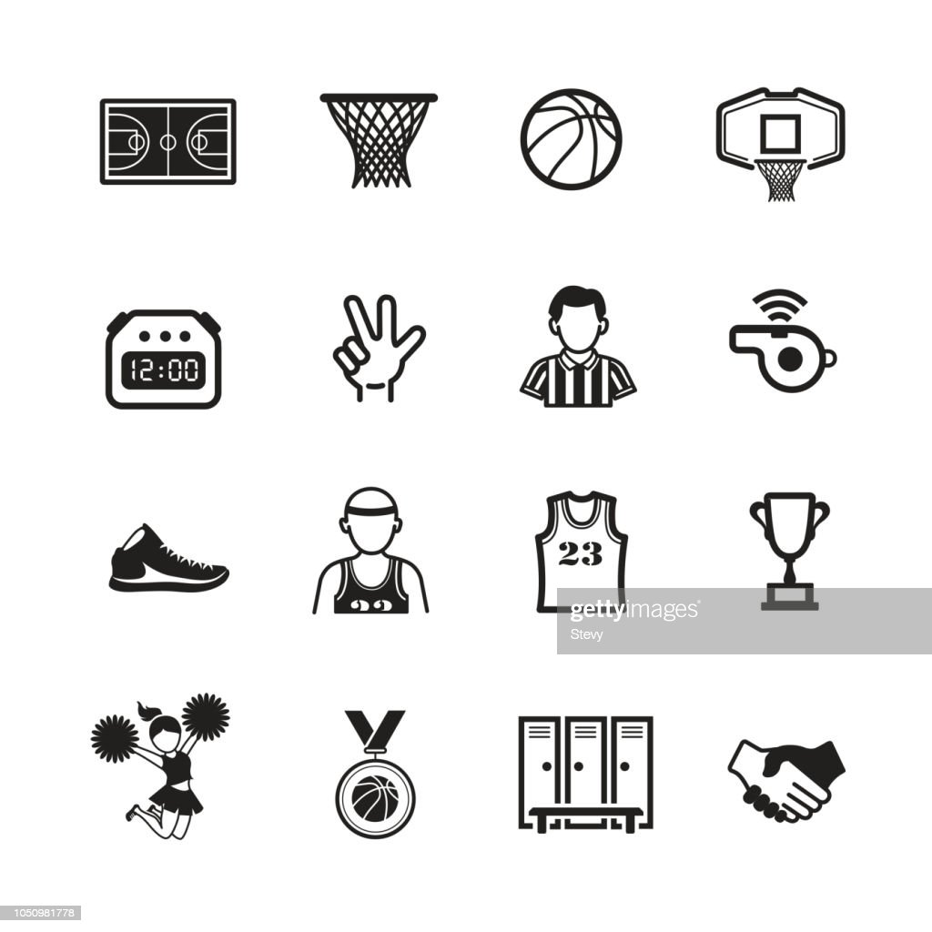 Basketball icon set, Vector