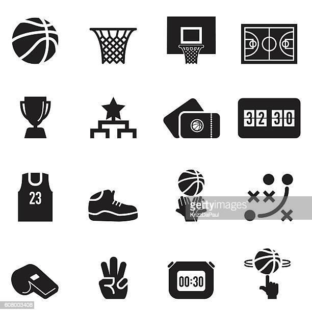 ilustraciones, imágenes clip art, dibujos animados e iconos de stock de basketball icons [black edition] - canasta de baloncesto