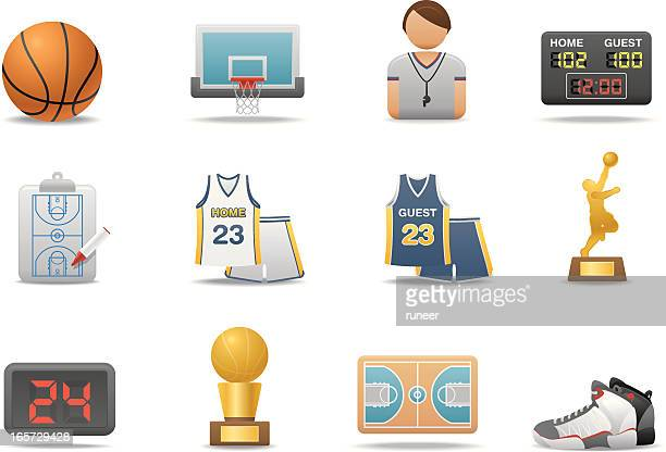 basketball icons | premium matte series - scoreboard stock illustrations