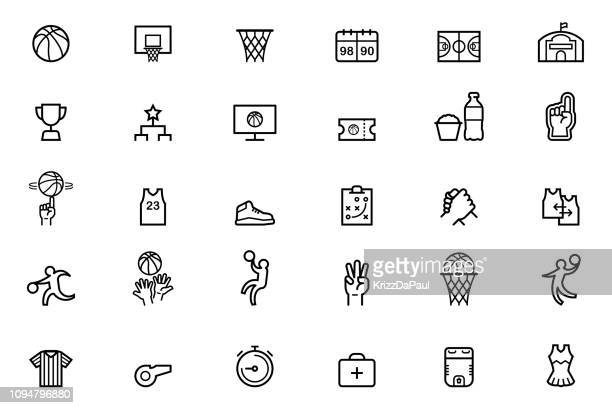 stockillustraties, clipart, cartoons en iconen met basketbal pictogrammen - basketbal teamsport