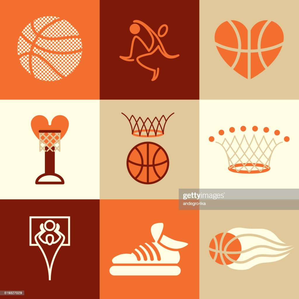 basketball icons vector set