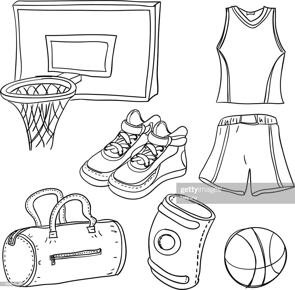 Basketball illustration in black white : stock illustration