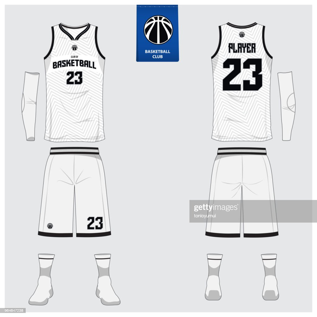 Basketball jersey or sport uniform template design for basketball club. Front and back view sport t-shirt design. Tank top t-shirt mock up with basketball flat icon design.