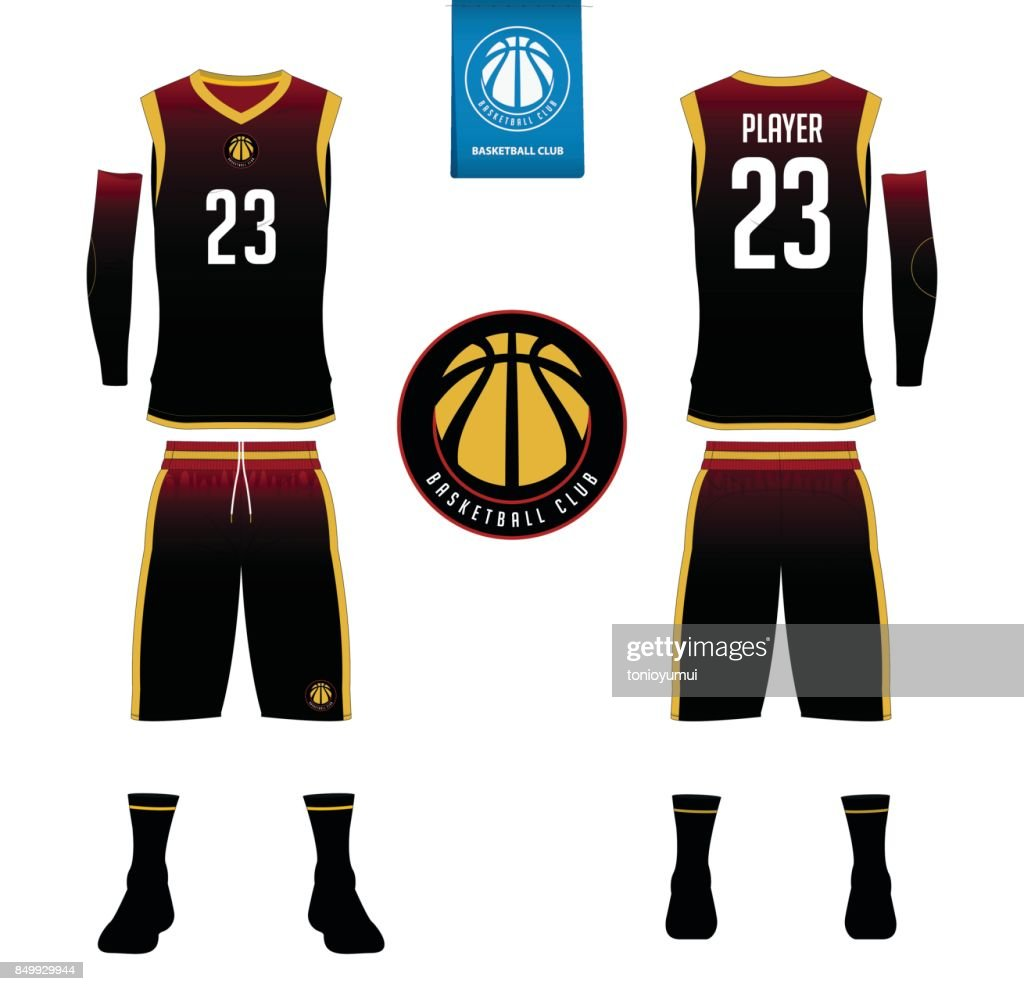 Basketball jersey, shorts, socks template for basketball club. Front and back view sport uniform. Tank top t-shirt mock up with basketball flat design on label. Vector