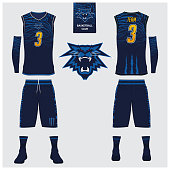Basketball jersey, shorts, socks template for basketball club. Front and back view sport uniform. Tank top t-shirt mock up with basketball flat icon design on label. Vector