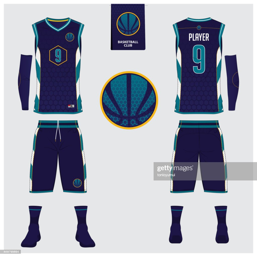 Basketball jersey, shorts, socks template for basketball club. Front and back view sport uniform. Tank top t-shirt mock up with basketball flat icon design on label. Vector.