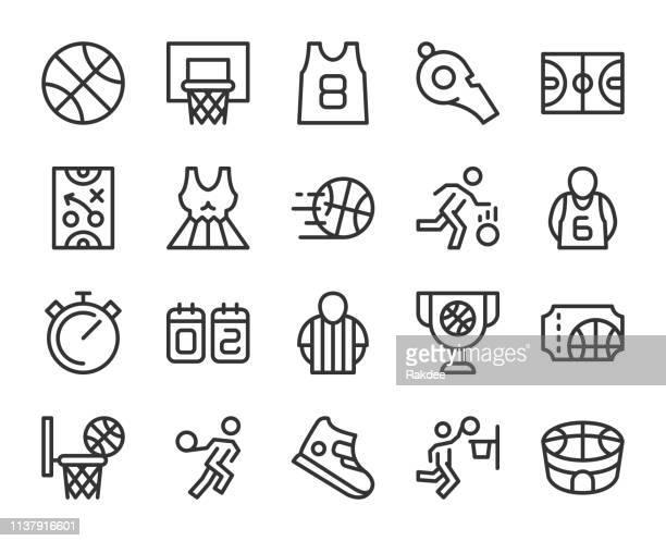 ilustraciones, imágenes clip art, dibujos animados e iconos de stock de iconos de la línea de baloncesto - pelota de baloncesto