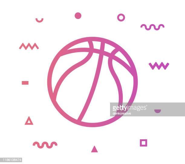 ilustraciones, imágenes clip art, dibujos animados e iconos de stock de diseño de icono de estilo de línea de baloncesto - cancha futbol