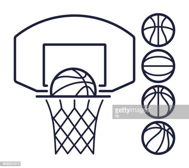 ilustraciones, imágenes clip art, dibujos animados e iconos de stock de símbolos de línea de baloncesto - pelota de baloncesto