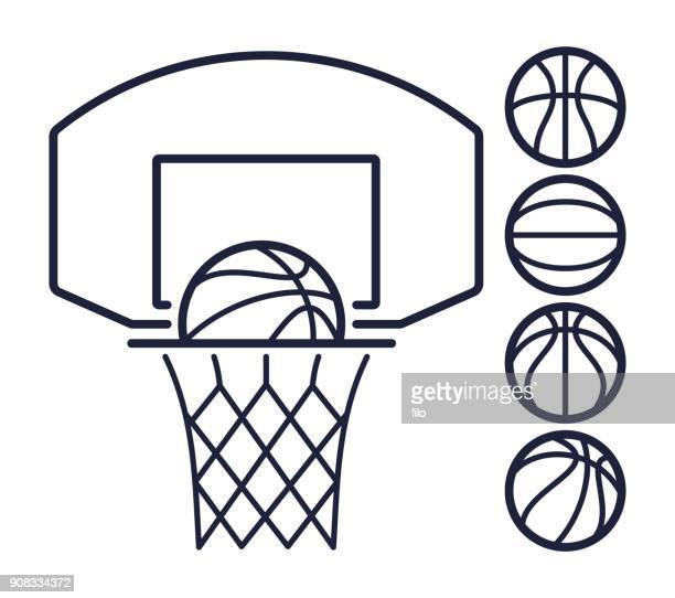 basketball line symbols - basket stock illustrations, clip art, cartoons, & icons