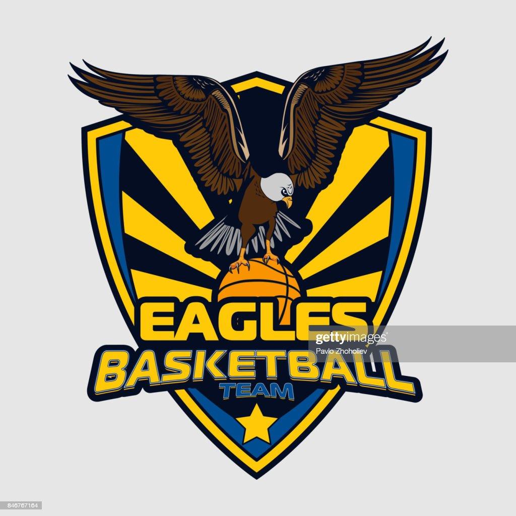 Basketball logo team of eagles for your design, print and internet. Vector illustration