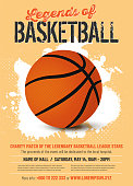 Basketball match poster template in retro style