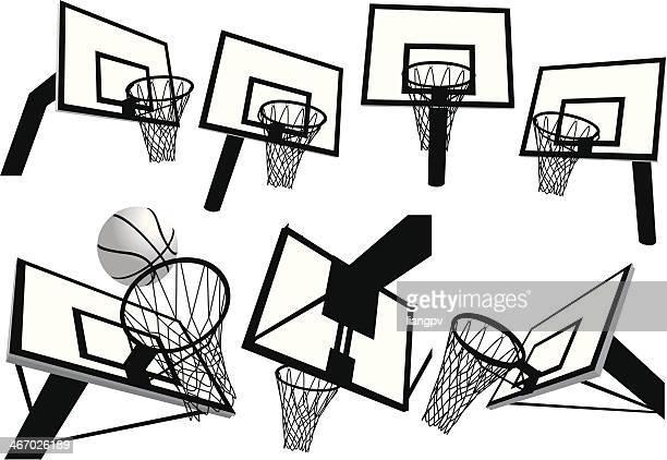 ilustraciones, imágenes clip art, dibujos animados e iconos de stock de net de básquetbol - canasta de baloncesto