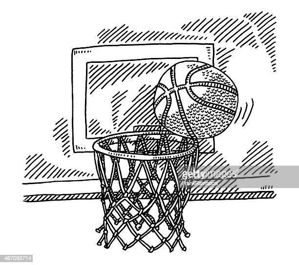 Básquetbol en cesta Hoop cerca de ranura de dibujo