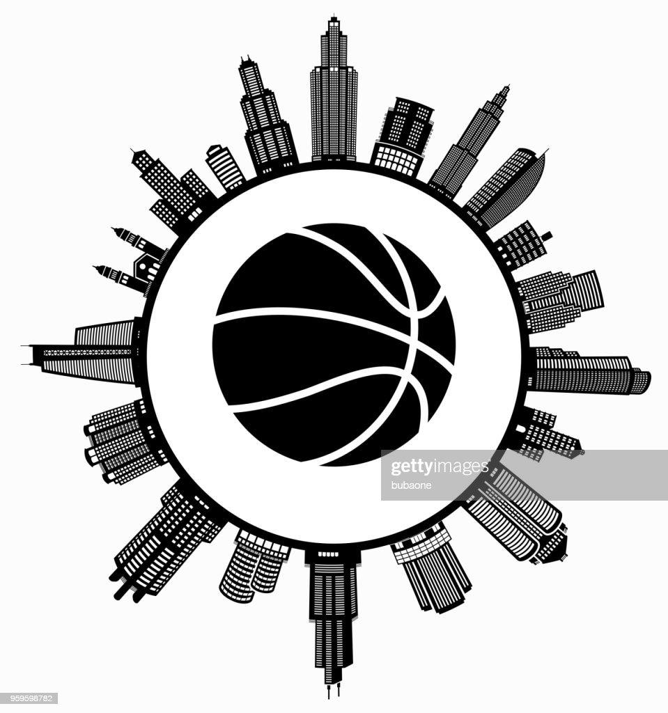 Basketball im modernen Stadtbild Skyline Hintergrund : Stock-Illustration