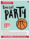 Basketball Party Invitation Template Illlustration