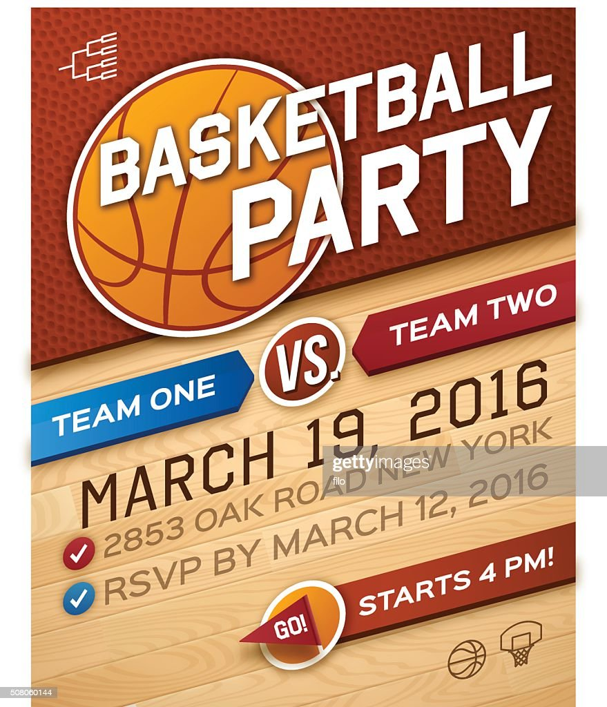 Basketball Party Invitation Vector Art | Getty Images