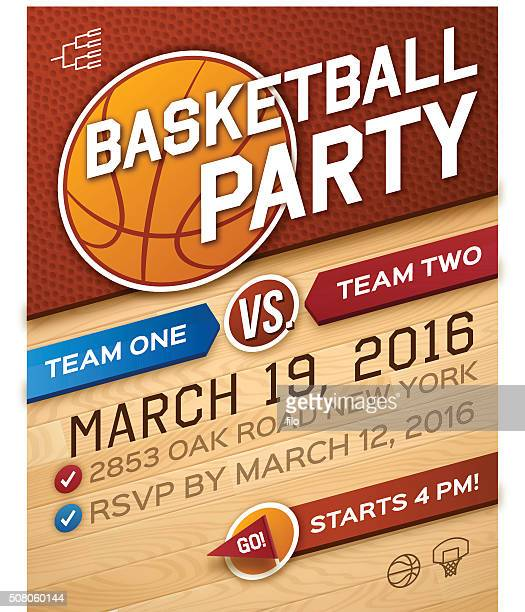 basketball party invitation - basketball stock illustrations, clip art, cartoons, & icons