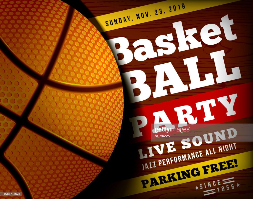 Basketball party with a basketball ball on a wooden floor. Vector illustration