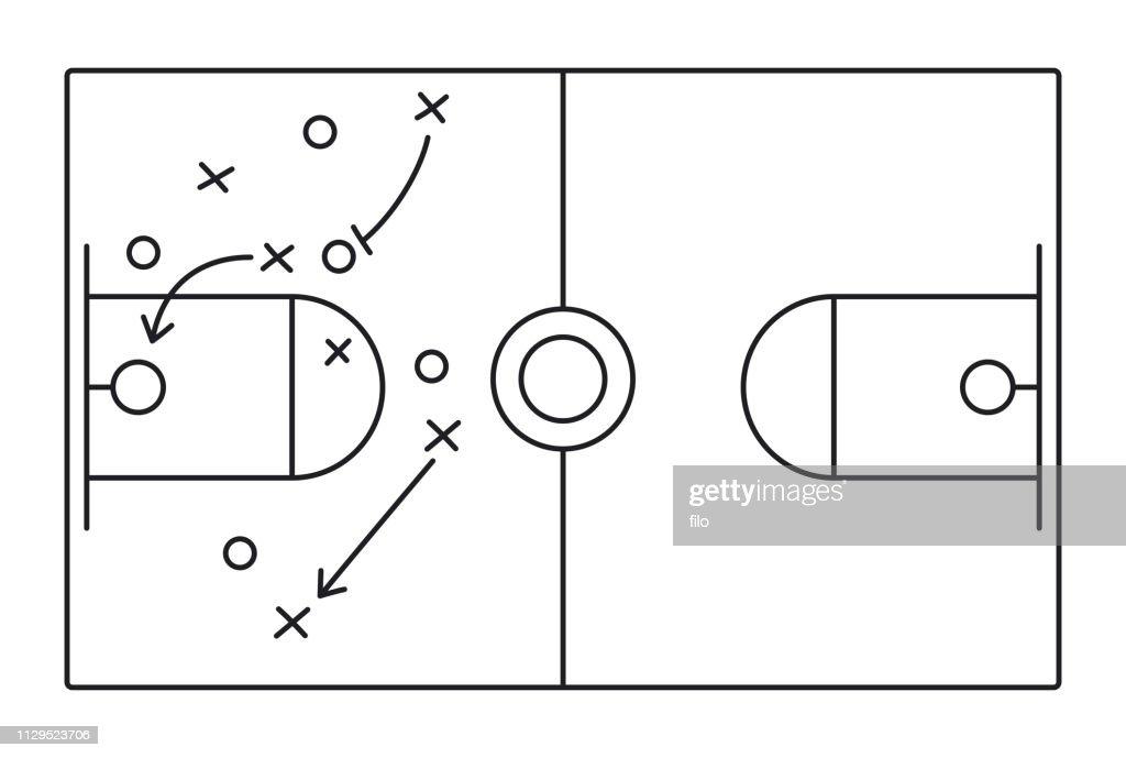 Basketball Play Diagram : stock illustration
