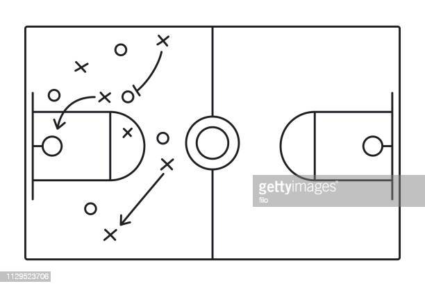 basketball play diagram - team sport stock illustrations
