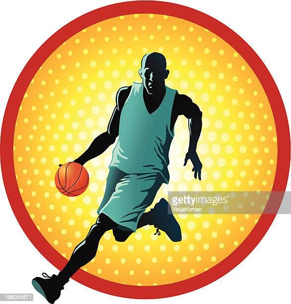 illustrazioni stock, clip art, cartoni animati e icone di tendenza di giocatore di basket dribbling - guardia pallacanestro