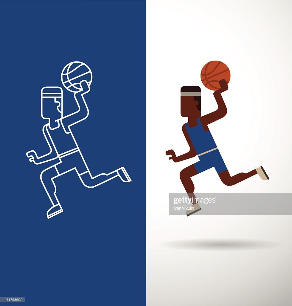 Basketball player, flat and line
