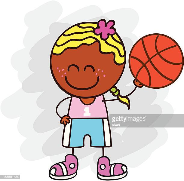 basketball player girl cartoon illustration