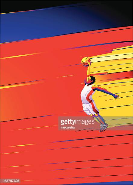 Basketball player in motion on abstract background