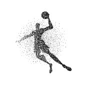 Basketball player jump particle splash silhouette