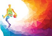 Basketball player jump shot polygonal silhouette on colorful low poly