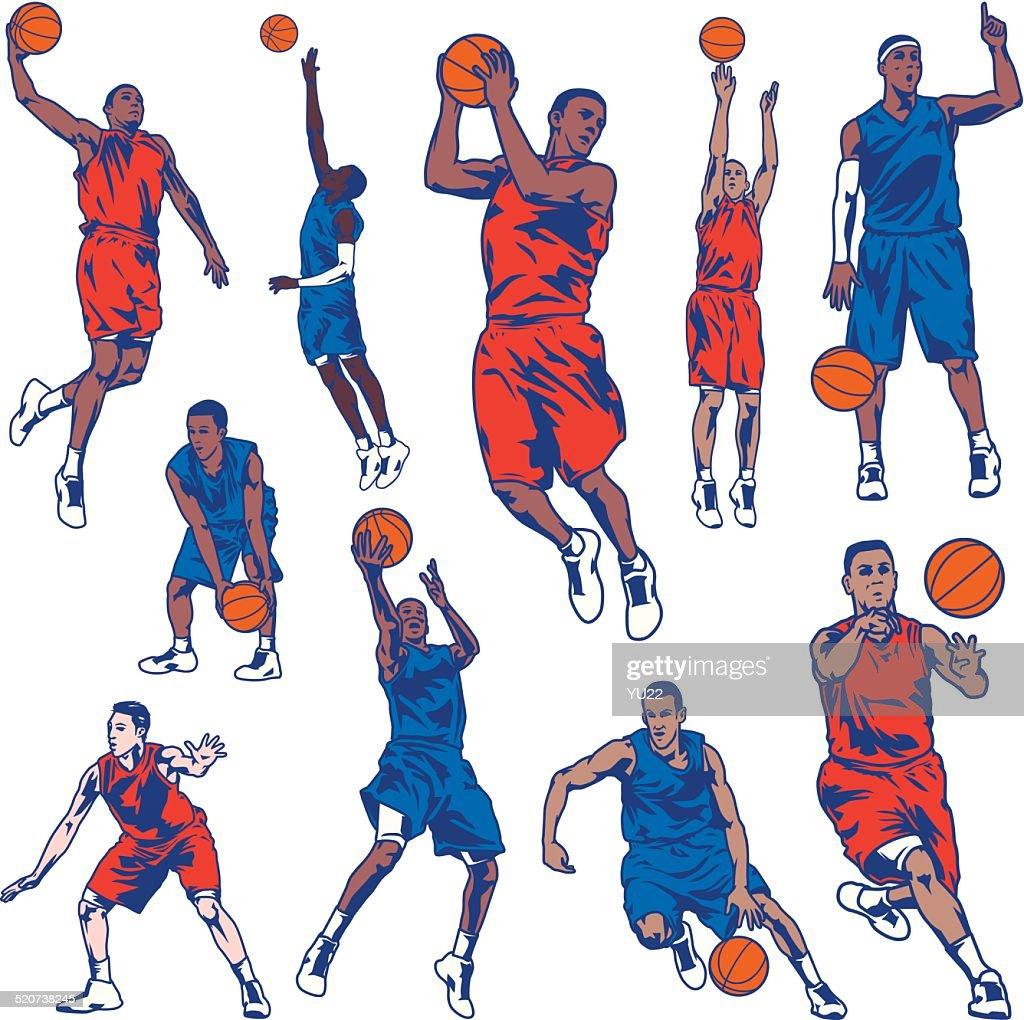 Basketball Player Set : stock illustration