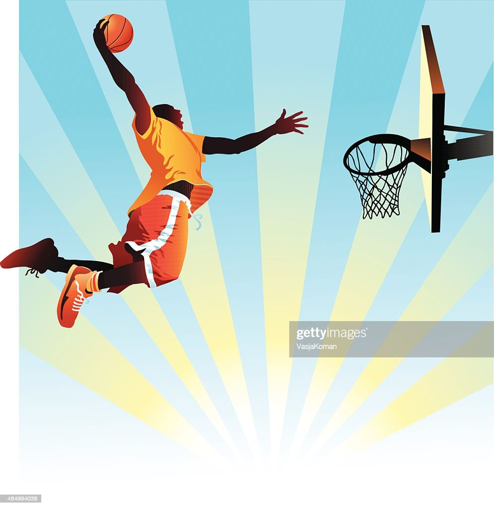 Basketball Player Slam Dunks on Blue Background